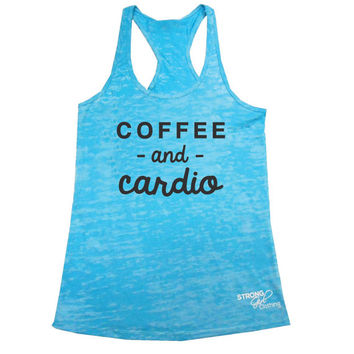Cardio & Coffee Burnout Tank, Coffee and Cardio Tank Top, Womens Workout Tank, Burnout Workout Tank, Gray Blue Neon Pink Green Small - 2XL