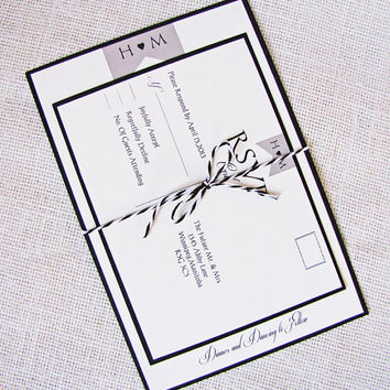 Modern Rustic Banner Wedding Invitation Tied with Twine Deposit Listing