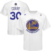 Mens Golden State Warriors Stephen Curry adidas White Net Number T-Shirt