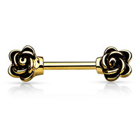 Rose Nipple Rings Gold Nipple Barbell Surgical Stainless Steel 14ga Body Jewelry