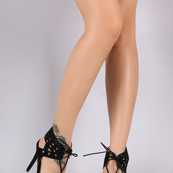 Qupid Geometric Cutout Lace Up Stiletto Heel