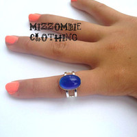 MOOD RING Color Changing Acrylic   Ring  adjustable ring, silver plated Limited