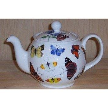 6C Butterfly Garden English Bone China Teapot