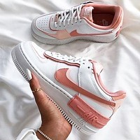 NIKE Air Force 1 Shadow Fashion Women Casual Classic Sport Running Shoes Sneakers White&Pink
