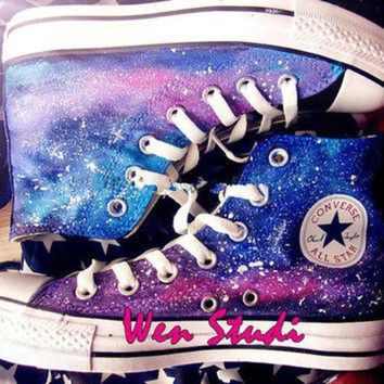 CREYUG7 Galaxy Converse Galaxy Custom Design Shoes High Quality Hand Painted Shoes,Converse,Cu