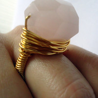 Rose quartz gold ring - any size - wrapped ring - natural stone ring - cocktail ring - chunky ring - large ring - thick ring - gemstone ring