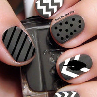 Feather and Chevron Nail Decals - Set of 90