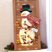 """Lighted Snowman Shutter 24"""" Battery Operated Winter Christmas Holiday Decor"""