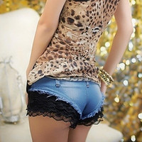 Super shorts summer fashion ds sexy ultra-short denim low-waist lace shorts boot cut jeans female = 5708496577