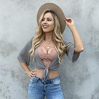 Sea Of Cortez Knot Crop Top In Olive
