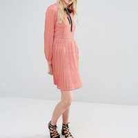 Fashion Union Tall Diana Pleated Skater Dress With Bow Tie at asos.com