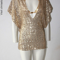 Party Dress Kaftan Sequin Gold Summer Dress Tunic 2040 Chrisst Chrisst Unique Fashion SPECIAL ETSY PRICE