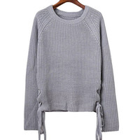 Ribbed Lace-Up Side Sweater