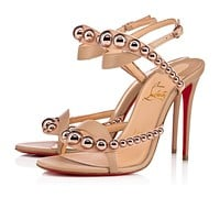 Christian Louboutin Cl Galeria Vers Nude/bronze Rose Leather 18s Sandals 1181115h166 - Sale