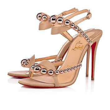 Christian Louboutin Cl Galeria Vers Nude/bronze Rose Leather 18s Sandals 1181115h166