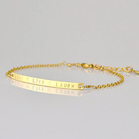 Bar bracelet, Monogrammed Bracelet, Custom Bridesmaids Gift, Personalized Sterling Silver, 14k Gold Filled, Meaningful Jewelry Gifts name