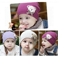 1 Pcs Cute Winter Autumn born Crochet warm Cotton beanie Baby Hat Girl Boy Cap Children Bear Infant Kids Clothes