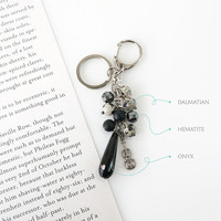 Black Teardrop Onyx Keychain with Hematite, Dalmatian Jasper Stone and Violin Charm, Gift For Violinist