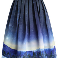 Starry Starry Night Pleated Midi Skirt Multi