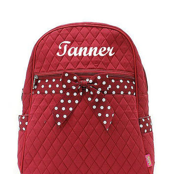 Burgundy and White Polka Dot Monogrammed Backpack  Monogram Quilted Backpack  Personalized Backpack