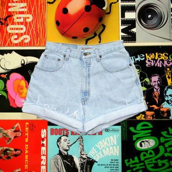 Vintage Denim Cut Offs - 90s Ultra LIGHT Wash Jean Shorts - High Waisted, Frayed, Distressed COUNTY SEAT Shorts, Size 8 Medium M