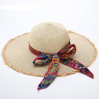 Women Foldable Wide Brim Floppy Summer Beach Sun Hat Straw Bowknot Cap in 7 Colors