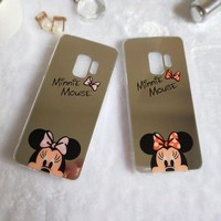 Minnie Mickey Mouse Mirror Case For iPhone 6 s 6S X 10 7 8 Plus For Samsung Galaxy S8 S9 Plus Note 8 Cover Hello Kitty Housing