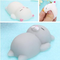 Cute Mochi Squishy Cat Seal Rabbit Squeeze Fun Kids Kawaii Adult Stress Reliever Strap Case For iPhone 5 5S SE 6 6S 7 8 Plus X