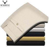 MCHAMCHI Europe Fashion Men Pants Straight Cotton Pant Casual Solid Color Fashion Design Trousers  Work Business  Size 29-40