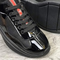 Prada Mens Spazzolato Fume Nero Leather Lace-up Formal Shoes Casual Sneaker Running sport Shoe black