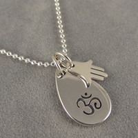 Om Teardrop with Tiny Hamsa Charm Necklace - Yoga Jewelry - Meditation Jewelry - Sterling