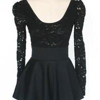 Sweet Flouncing Lace Dress with Doulbe-layered Skirt