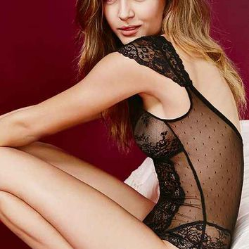 Out From Under Mix Lace Cap Sleeve Bodysuit
