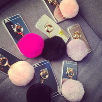 Furry Ball Mirror Iphone 6 6 S plus Cases Gifts