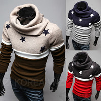 Stars and Stripes Color Contrast Mens Sweater