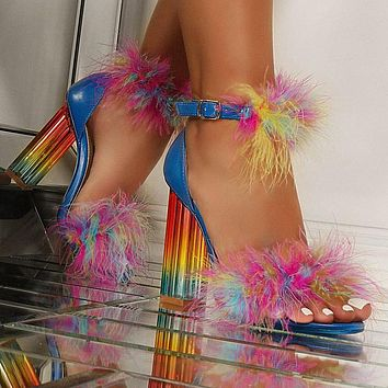Women's High Heel Sandals Outdoor Shoes Colorful Chunky Heel Sexy Fashion Fish Mouth