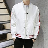 Mens Striped Baseball Jacket