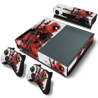 Dead Pool PVC Skin Sticker For Xbox One Console + 2 Pcs Controller Skin + Kinect Skin Sticker Set for Xbox One