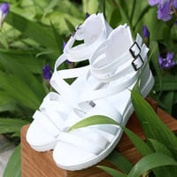Summer White Leather Beach Slippers Sandals