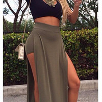 Black Cropped Top and Green High Slit Maxi Skirt Dress