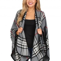 Fool For Love Gray Plaid Poncho   Monday Dress Boutique