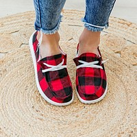 Heather Red Buffalo Plaid Slip on Sneaker