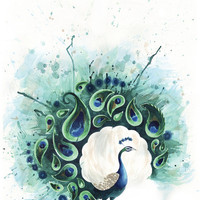 Circle Peacock Art Print by Tracey Cameron