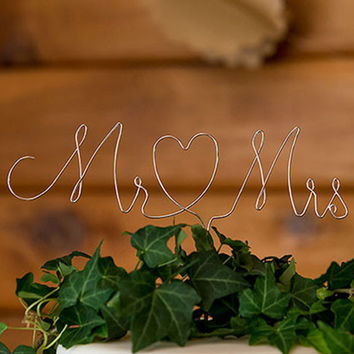 Mr and Mrs Rustic Cake Topper