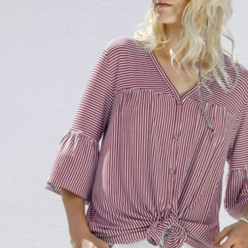 Tie Front Top - Pink and White