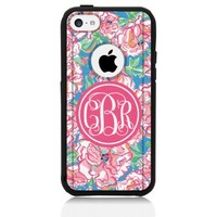 iPhone 5c Case [Black] Lilly Pink Monogram [Dual Layer] UnnitoTM *1 Year Warranty* Case Protective [Custom] Commuter Protection Cover [Hybrid]