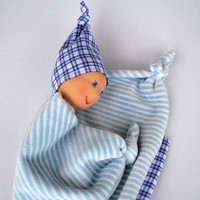 Waldorf Doll, Waldorf Baby Doll,  Lovey Doll, Bunting Blanket Doll for baby boys, Security Blanket, Baby shower gift,  Handmade