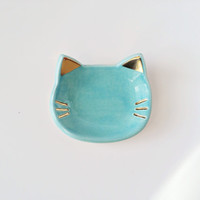 Cat Ring Dish with Gold
