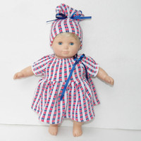 """Clothes Red Blue Dress Hat Handmade for Bitty Baby 15"""" American Girl 18"""" Doll"""