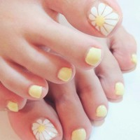 24 Pieces False Toe Nails with Designs Tips Candy Sweet White Yellow Sunflower Sparkle Toenail Pedicure Press on Fake Toenails